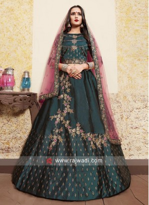 Embroidered Lehenga Set in Dark Green