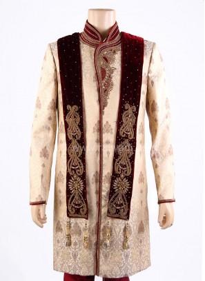 Embroidered Maroon Wedding Dupatta