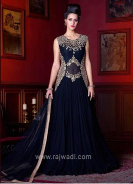 Embroidered Navy Blue Dress Material