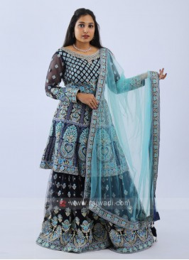 Embroidered Navy Blue Gharara Suit