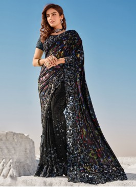 Embroidered Net Contemporary Saree in Black