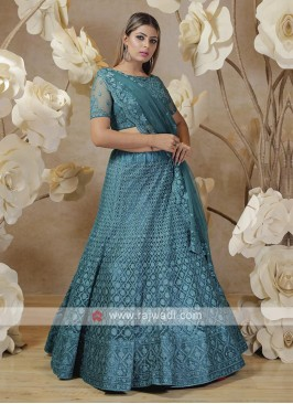 embroidered lehenga choli in rama blue