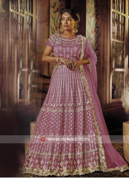 Embroidered Net Lehenga Set with Dupatta