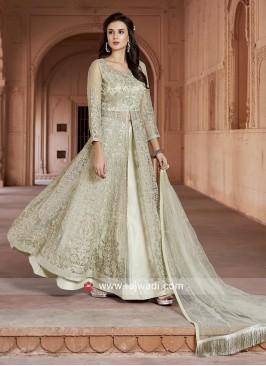 Embroidered Net Lehenga Style Salwar Suit