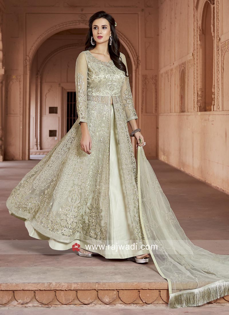 Embroidered Net Lehenga Style Salwar Suit