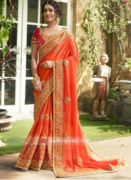 Embroidered Orange Wedding Sari