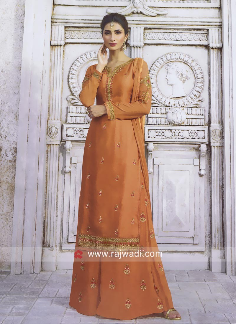 Embroidered Palazzo Suit in Orange