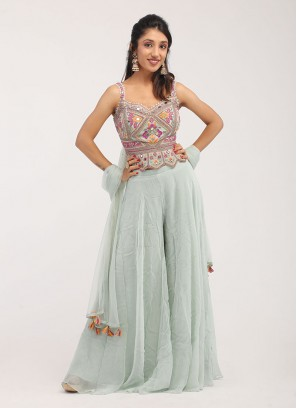 Embroidered Palazzo Suit In Slate Blue