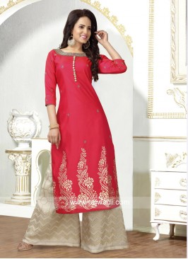 Embroidered Palazzo Suit with Dupatta