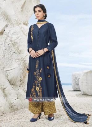 Embroidered Palazzo Suit with Latkan