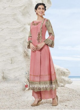 Embroidered Palazzo Suit with Side Slit