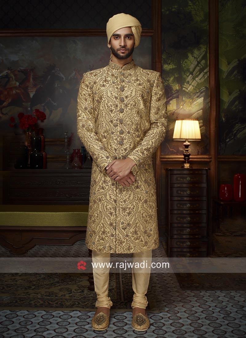 6dfc1e979d Attractive Cutdana and Zari Work Sherwani. Hover to zoom