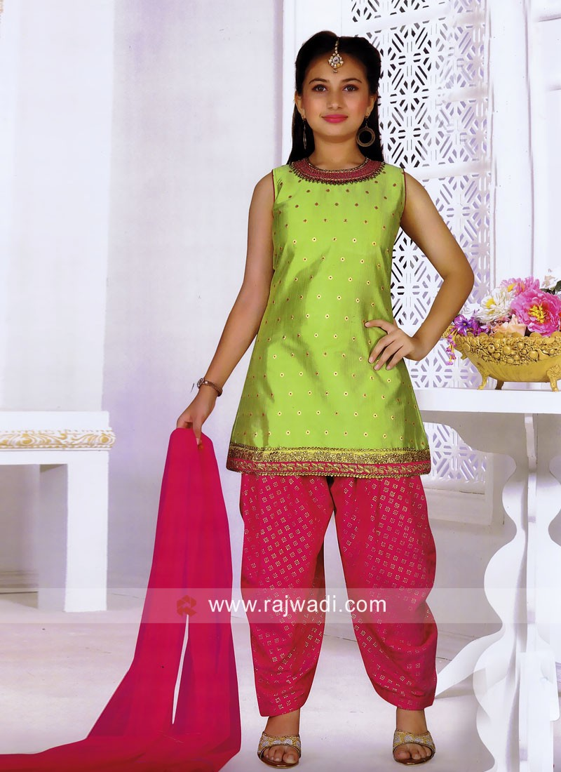Embroidered Patiala Suit for Girls