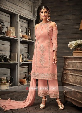 Embroidered Peach Straight Fit Suit
