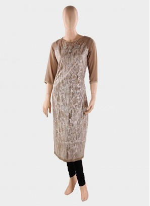 Embroidered Round Neck Kurti with Broach