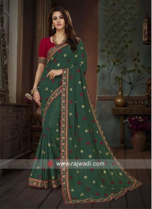 Embroidered Saree in Dark Green