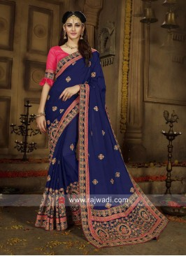 Embroidered Saree in Navy Blue