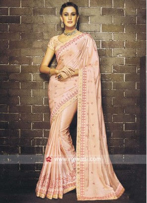 Embroidered Saree in Peach