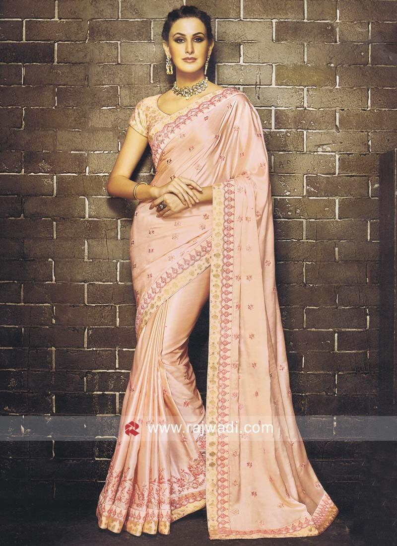 Embroidered Saree in Peach