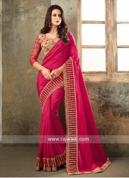 Embroidered Saree with Cut Work Border