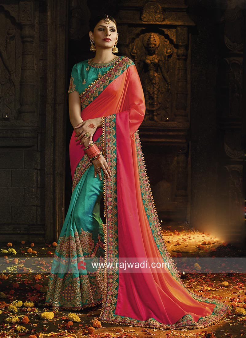 Embroidered Saree with Shaded Pallu