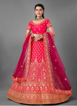 Embroidered Satin Designer Lehenga Choli in Pink