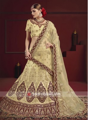 Embroidered Satin Lehenga Set With Dupatta