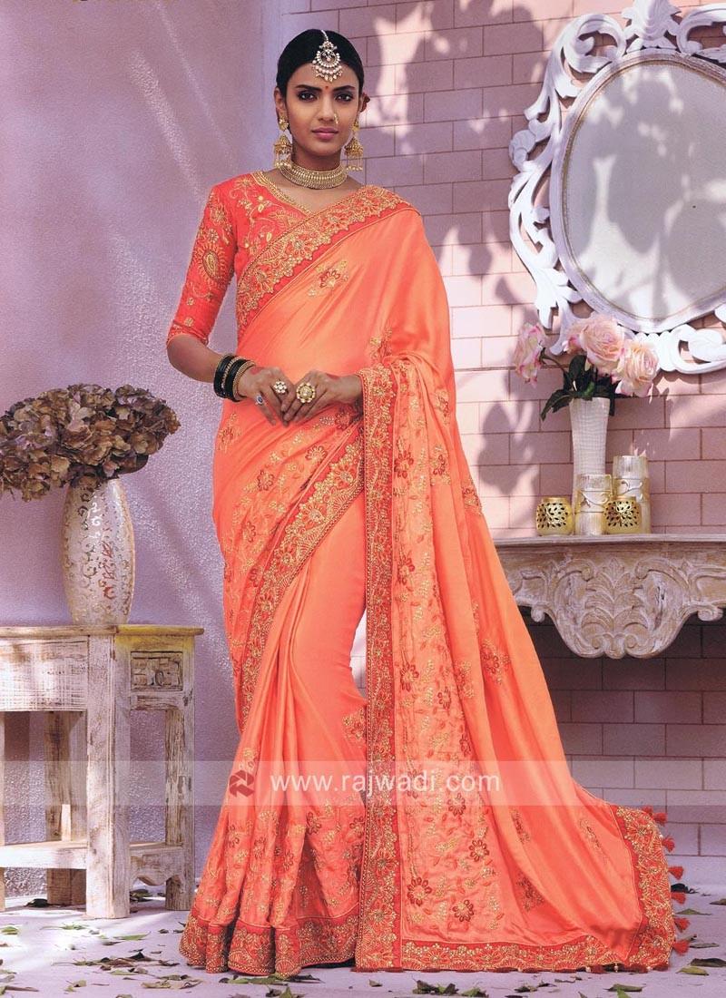 Embroidered Satin Silk Saree with Raw Silk Blouse