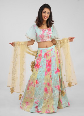 Embroidered Silk Choli Suit