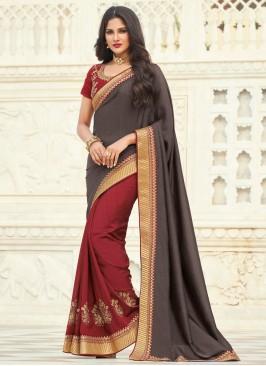 Embroidered Silk Designer Half N Half Saree in Grey and Maroon