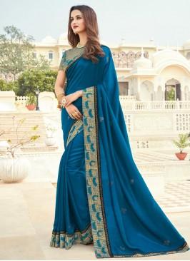 Embroidered Silk Designer Saree in Blue