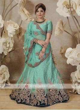 embroidered silk lehenga choli in rama blue