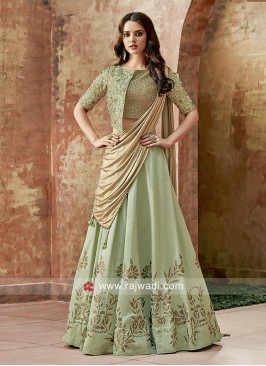 Embroidered Silk Lehenga in Pista Green