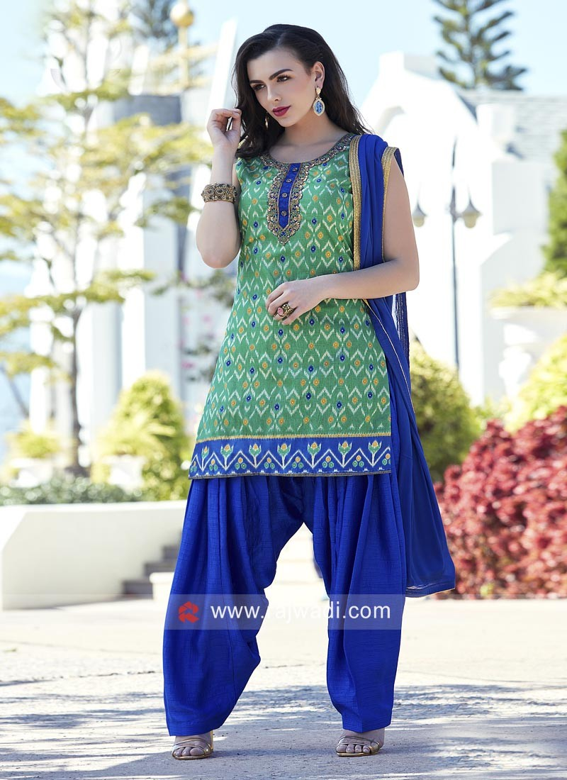 Embroidered Silk Patiala Suit