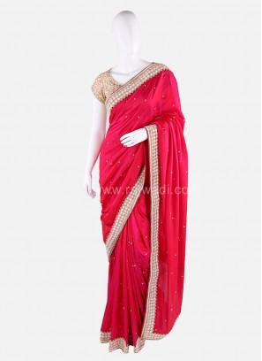 Embroidered Silk Saree with Designer Border