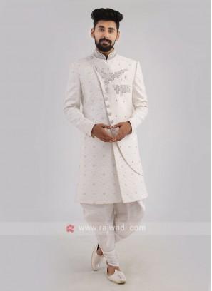 Embroidered Silk White Indo-Western