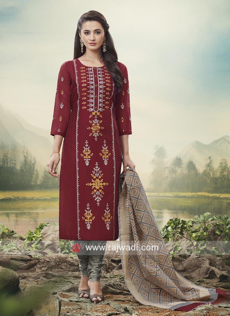 Embroidered Straight Suit in Maroon