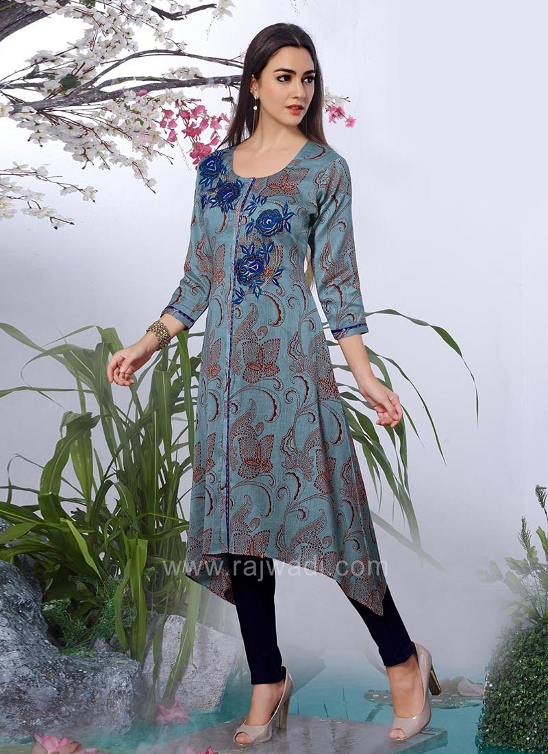 Embroidered Trail Cut Kurti