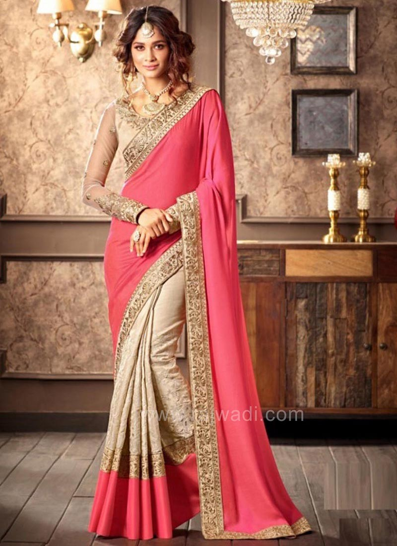 Embroidered Two Tone Saree with Blouse