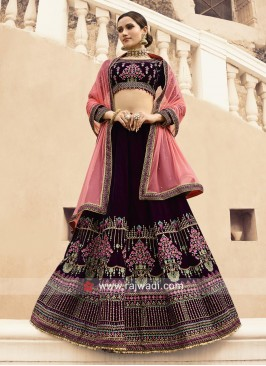 Velvet Lehenga Set with Net Dupatta and Jacket