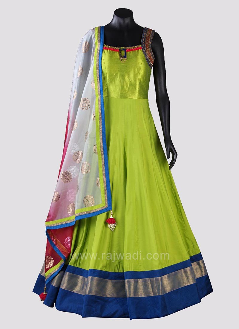 Embroidered Wedding Anarkali Dress with Shaded Dupatta