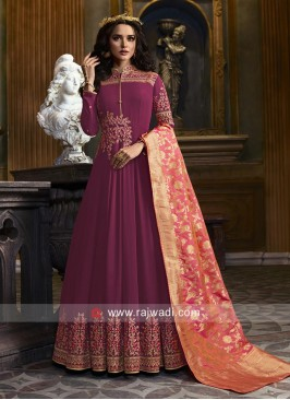Embroidered Wedding Anarkali Suit with Dupatta