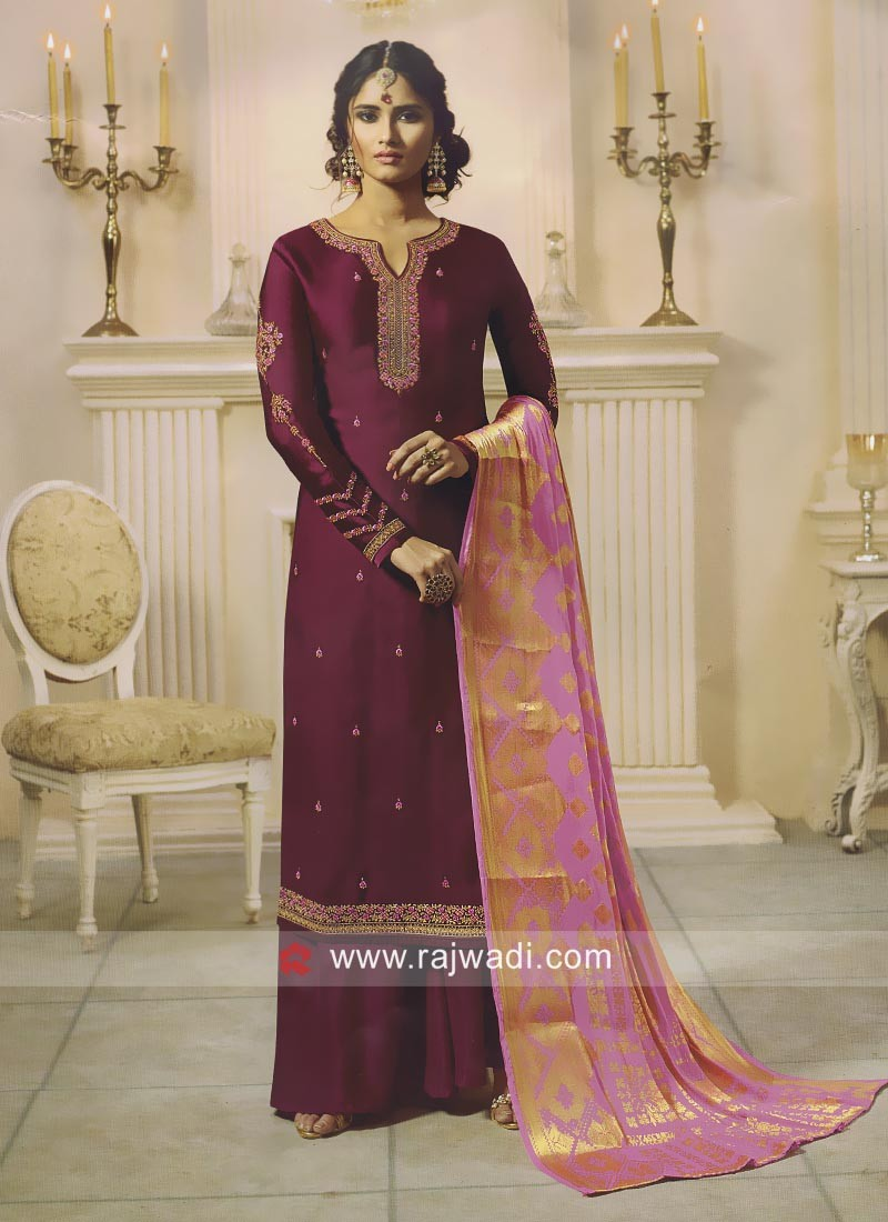 Embroidered Wedding Palazzo Suit in Magenta