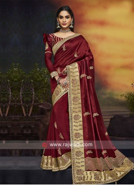 Embroidered Wedding Saree in Maroon