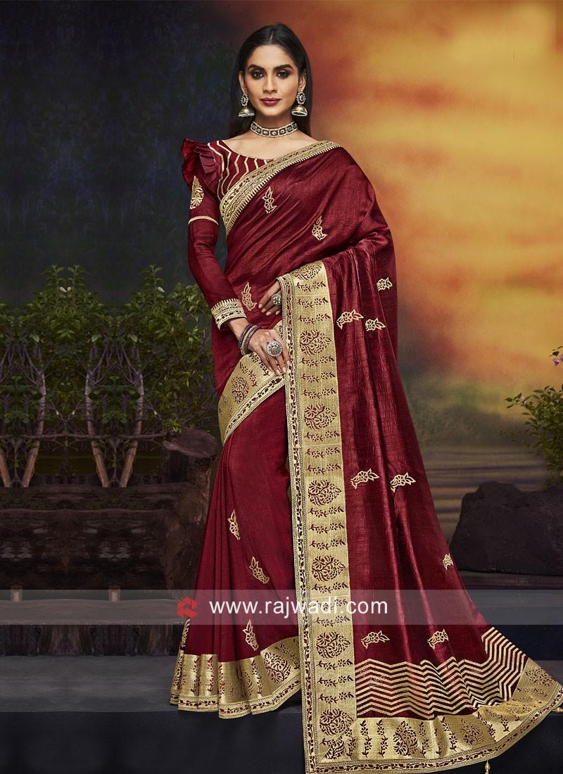 Embroidered Wedding Saree in Maroon