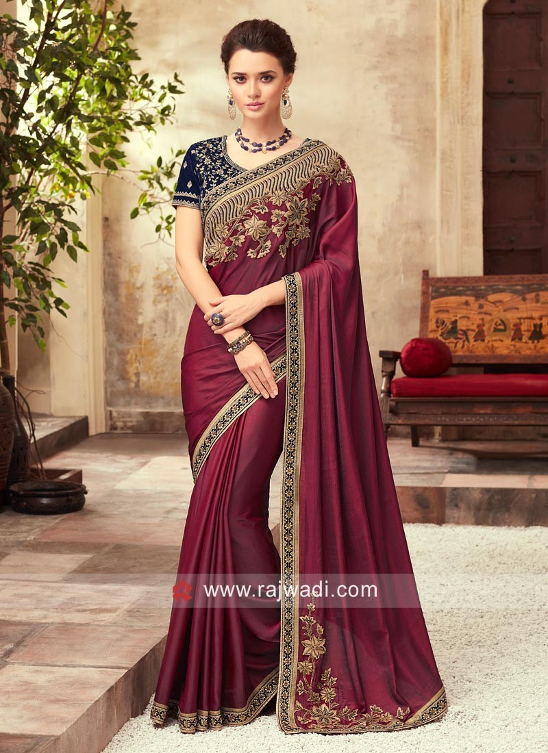 Embroidered Wedding Saree with Blouse