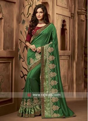 Embroidered Wedding Sari in Dark Green