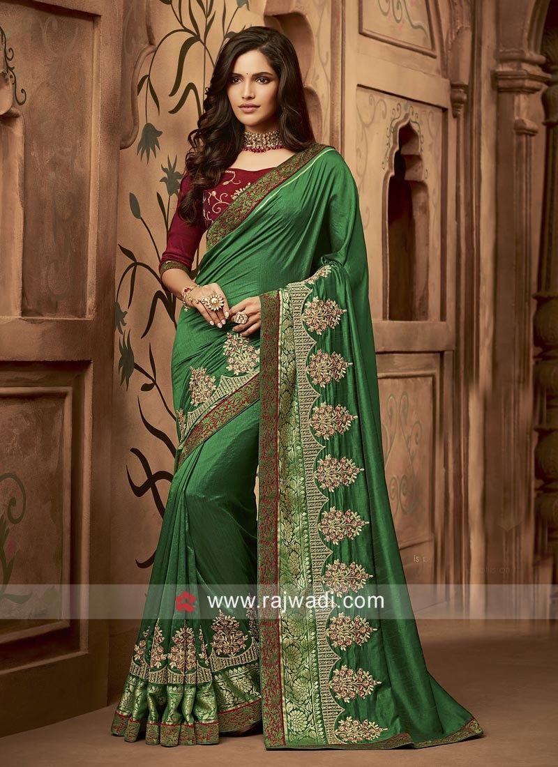 Embroidered Wedding Sari in Dark Green