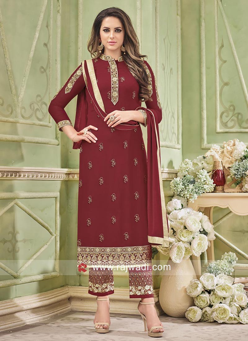 Embroidery and Lace Work Straight Salwar Suit
