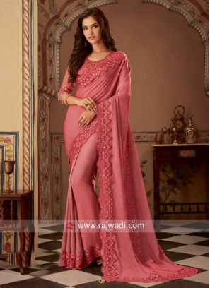 Embroidery Border Work Saree